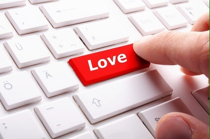 love on key or keyboard showing internet dating concept